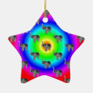 Elephants On Rainbow Burst Pattern Double-Sided Star Ceramic Christmas Ornament