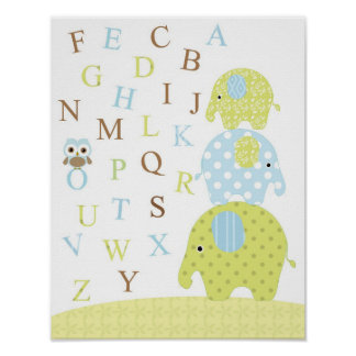 Elephants owl alphabets poster