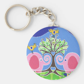 Elephants Parading in the Forest Key Chain