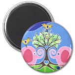 Elephants Parading in the Forest Magnets