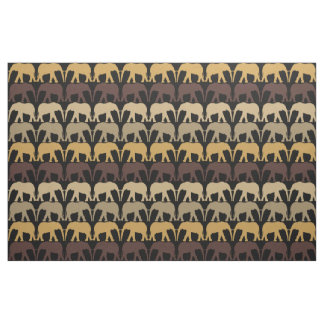 Elephants Pattern On Black Fabric