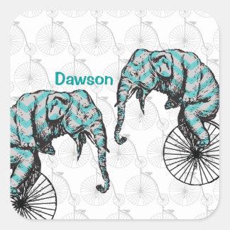 Elephants Plus Bikes Equal YIKES! Square Sticker