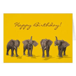 Elephants Quartet Happy Birthday Card