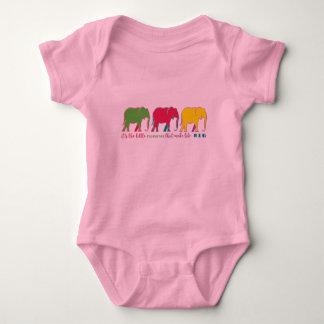 Elephants Silhouette Neon Inspiration Motivation Baby Bodysuit