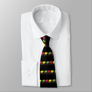 Elephants Silhouette Neon Inspiration Motivation Tie