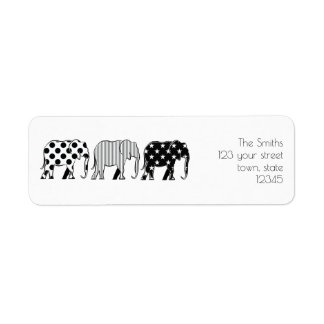 Elephants Silhouette Pattern Black White Family Return Address Label