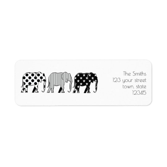 Elephants Silhouette Pattern Black White Family Return Address Label