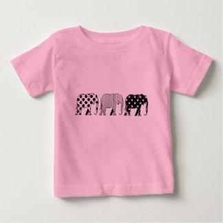 Elephants Silhouette Pattern Modern Black White Baby T-Shirt