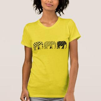 Elephants Silhouette Pattern Modern Black White T-Shirt