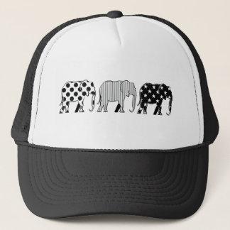 Elephants Silhouette Pattern Modern Black White Trucker Hat