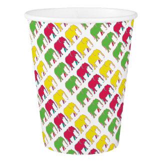 Elephants Silhouette Vibrant Colors Neon Bright Paper Cup