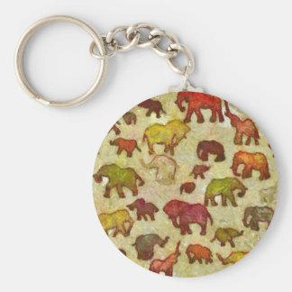 Elephants silhouettes basic round button key ring
