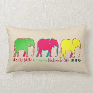 Elephants Silhouettes Cartoon Colorful Bold Pink Lumbar Cushion