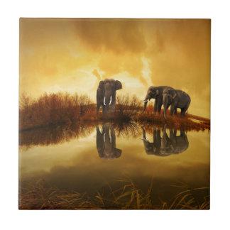 Elephants Small Square Tile