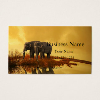 Elephants Sunset Business Card