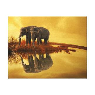 Elephants Sunset Canvas Print