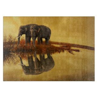 Elephants Sunset Cutting Board