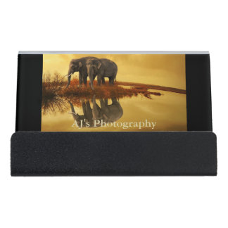 Elephants Sunset Desk Business Card Holder