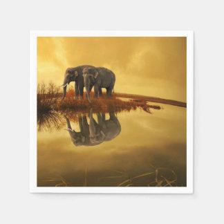 Elephants Sunset Disposable Serviette