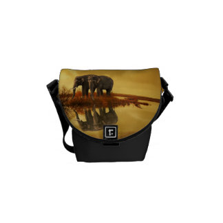 Elephants Sunset Messenger Bag