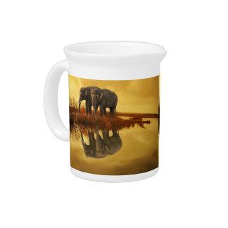 Elephants Sunset Pitcher