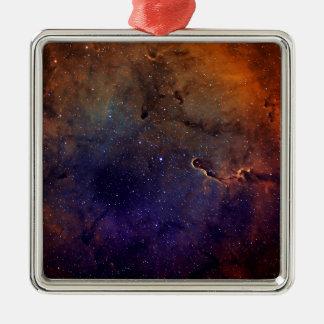 Elephant's Trunk Nebula Silver-Colored Square Decoration