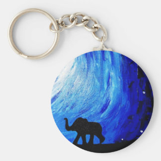 Elephants Under Moonlight (K.Turnbull Art) Basic Round Button Key Ring