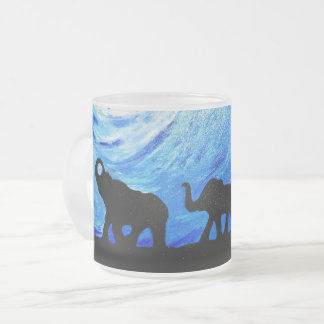 Elephants Under Moonlight (K.Turnbull Art) Frosted Glass Coffee Mug