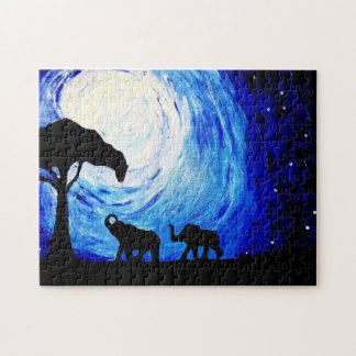 Elephants Under Moonlight (K.Turnbull Art) Jigsaw Puzzle