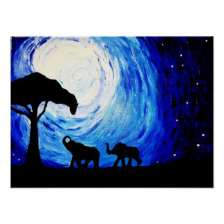 Elephants Under Moonlight (K.Turnbull Art) Poster
