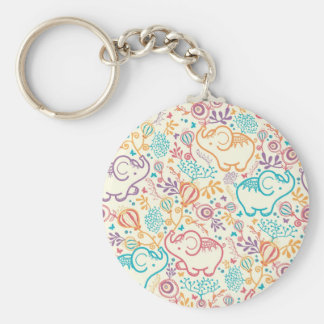 Elephants with bouquets pattern basic round button key ring