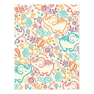 Elephants with bouquets pattern post cards