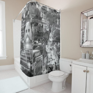 Elevated city view at night with Christmas market Shower Curtain