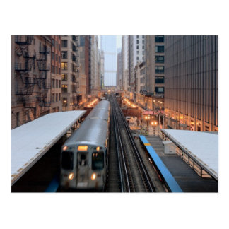 Elevated rail in downtown Chicago over Wabash Postcard