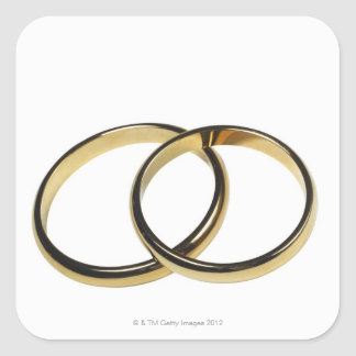 Elevated view of wedding rings square sticker