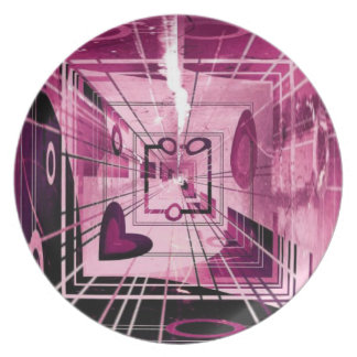 Elevator Down Abstract Dinner Plate