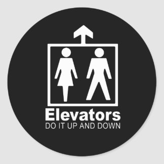 elevators do it up and down classic round sticker