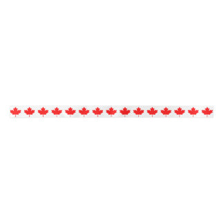 Eleven-Point Red Maple Leaf From Canadian Flag Satin Ribbon