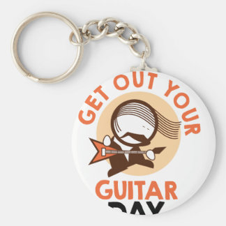 Eleventh February - Get Out Your Guitar Day Basic Round Button Key Ring