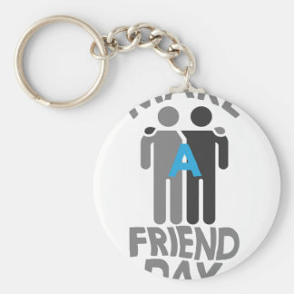 Eleventh February - Make a Friend Day Basic Round Button Key Ring