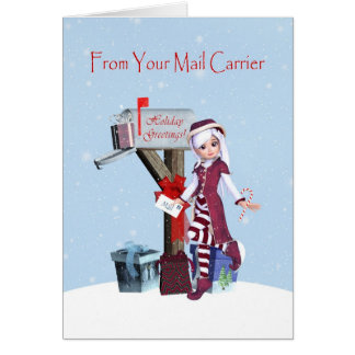 Elf and Mailbox Happy Holidays from Mail Carrier Greeting Card