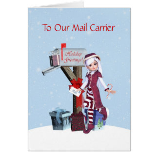 Elf and Mailbox Happy HolidaysTo Mail Carrier Card