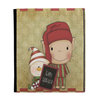 Elf and Snowman with a Happy Holiday Sign iPad Folio Cover