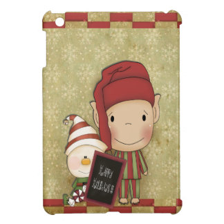 Elf and Snowman with a Happy Holiday Sign iPad Mini Covers