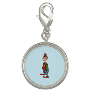 Elf At Attention round charm