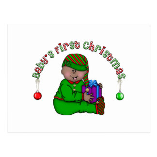 Elf Baby African American 1st Christmas Post Card