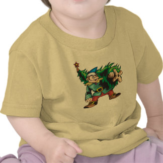 Elf Carrying Christmas Tree Tee Shirt