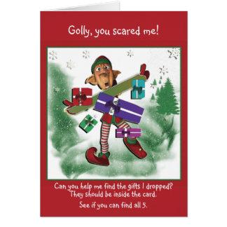 Elf Christmas cute snow Greeting Card