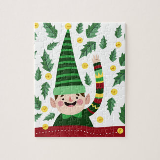 Elf Christmas Green Hat Leaves Cute Greeting Jigsaw Puzzle