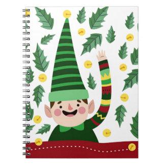 Elf Christmas Green Hat Leaves Cute Greeting Notebook